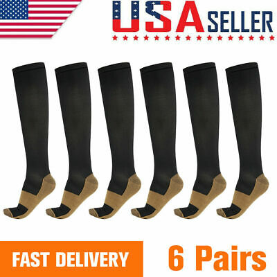 Copper Fit 6 Pairs Compression Socks Running 20-30 mmHG Foot Pain Relief