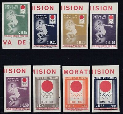 PARAGUAY 1964 Olympic Games - Tokyo, Japan, Imperforated set of MNH stamps