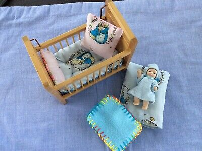 Dolls House Bedding Set for baby cot 1/12 scale made from Peter Rabbit cottono