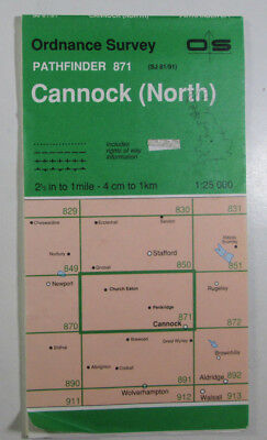 1972 Old OS Ordnance Survey 1:25000 Pathfinder Map 871 Cannock (North) SJ 81/91