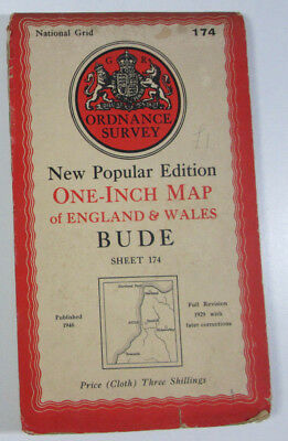Old 1946 OS Ordnance Survey New Popular Edition one-inch CLOTH Map 174 Bude