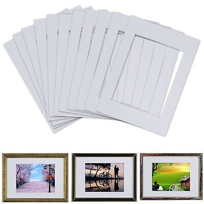 10pcs Art Picture Photo Frame Matting Cut Mount with Backing Boards White