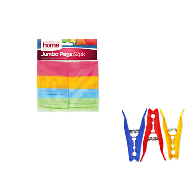32Pk Strong Plastic Jumbo Pegs Washing Drying Clothes Laundry