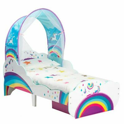 Unicorn and Rainbow Toddler Bed with Canopy and Storage