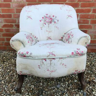 Victorian Armchair upholstered in Kate Forman Isobella Linen Fabric