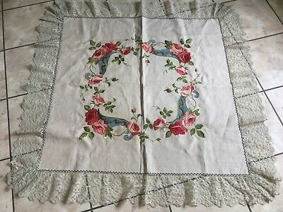Antique Vintage Cotton Linen Tablecloth Embroidered Roses~Lace~Hand Painted