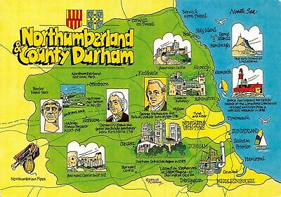 Map Postcard of Northumberland & County Durham, Newcastle Upon Tyne, Alnwick AV5