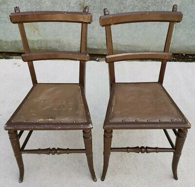 Pair of Victorian Oak Oriental Style Chairs for Restoration / Renovation