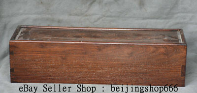 "20"" Old Chinese Huanghuali Yellow Pear Wood Dynasty Storage Box Boxes Container"