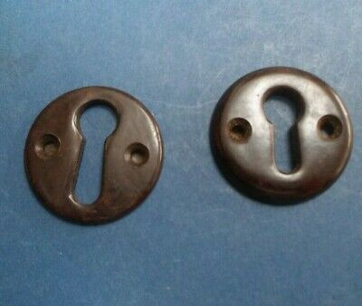 2 Bakelite Keyhole Escutcheons C 30's Good condition 3.4cm diameter