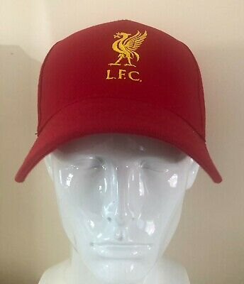 LIVERPOOL FC  MENS BASEBALL CAP RED WITH YELLOW LOGO LFC New Hat.Red/Yellow