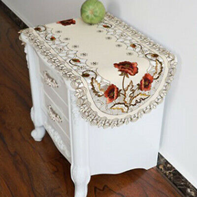 Embroidered Tablecloth Floral Oval Table Cover Dining Banquet Wedding Mat  Decor
