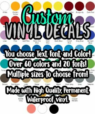 Custom Text Vinyl Lettering Decal Sticker, Your Name, Any font, color and size.