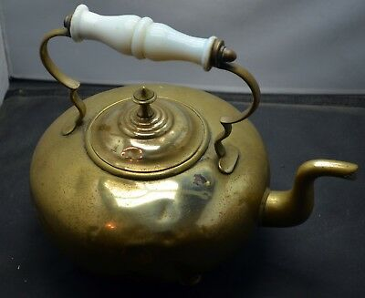 Antique Brass Scottish Toddy Kettle Amber Glass Handle