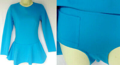 Vintage 60s 70s Mod Blue Crimplene  Go Go Mini Dress Romper Playsuit S-M UK 10