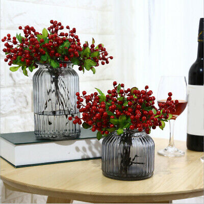Artificial Berry Holly Leaves Branch Fake Flower Floral Party Home Bouquet Decor