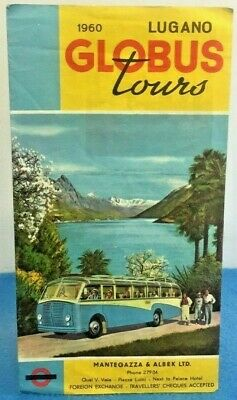 Vintage Swiss Travel Brochure Lugano Globus Tours Bus Coach 1960