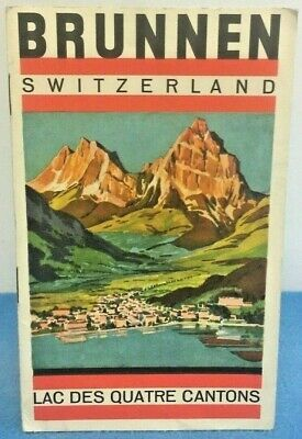 Vintage Swiss Travel Brochure Fold Out Booklet Brunnen Lucerne Hotel List Map