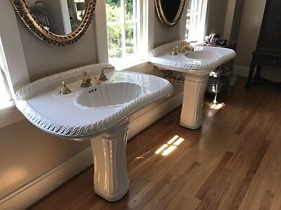 Single Sherle Wagner Classic China Pedestal Sink w/ Gold Plated Fixture