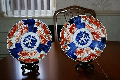 Pair of Antique Matching Japanese Imari Plates Meiji Period Unsigned Handpainted