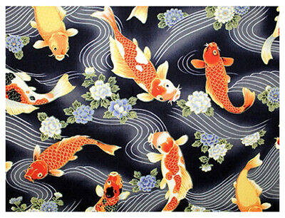 Koi Carp Black Asian Anese Quilt Fabric By The 1 2
