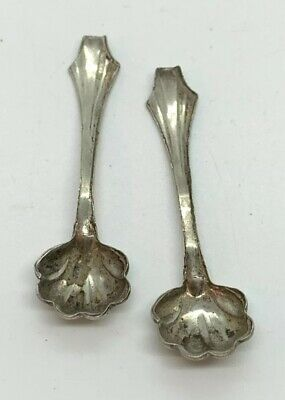 Antique Sterling Silver Marked Paired Mini Salt Spoons Scalloped Spoon