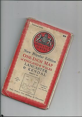 """OS 1""""N Popular Edition map LANCASTER and KENDAL 89 1947"""