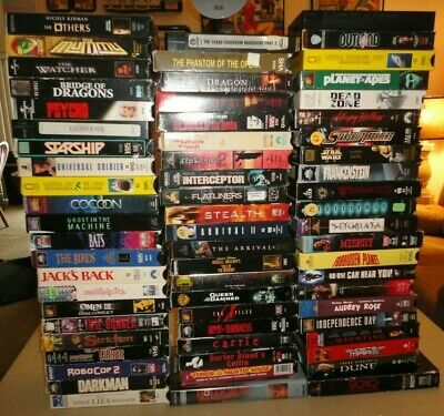 Horror Sci-Fi (VHS Lot of 65) Slasher Cult Gore Big Box Some New Demo Rare OOP