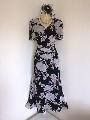 JACQUES VERT SIZE 12/14 Skirt Top Mother Of The Bride Black White Suit Floral