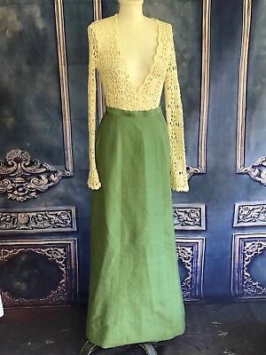 Vintage 1960s Green Grasscloth Woven Hostess Maxi Skirt SMALL A-Line Cocktail