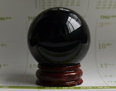 40mm  Natural Black Obsidian Sphere Large Crystal Ball Healing Stone+Stand