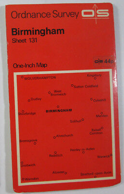 Old Vintage 1967 OS Ordnance Survey Seventh Series One-Inch Map 131 Birmingham