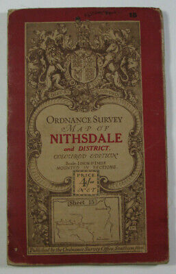 1913 Old OS Ordnance Survey One-Inch Third Edition Map 15 Nithsdale District