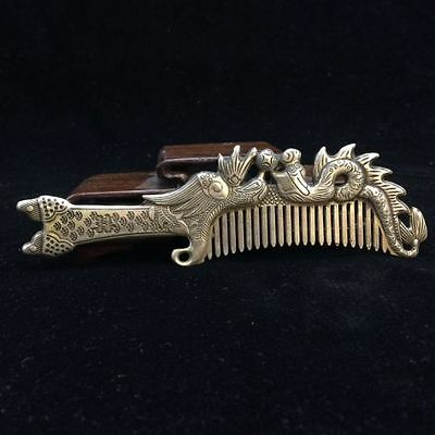 Chinese old copper plating silver hand-carved longfeng comb a01