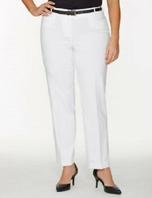 NWT - LANE BRYANT Women's 'THE LENA' White CURVY FIT STRAIGHT-LEG PANTS - 18