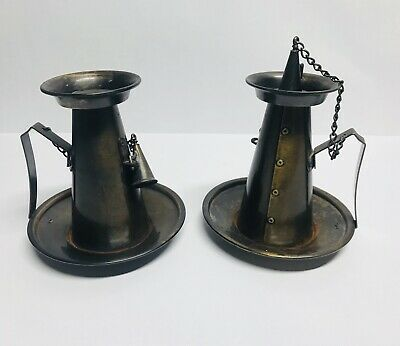 Antique Tell City Chair Company - Weathered Brass Candle Holders - Colonial Fing