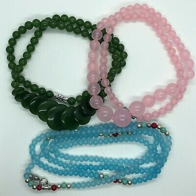 3 Chinese Green & Blue & Pink Jade Stone Bead Necklaces Jewelry Nephrite Asian