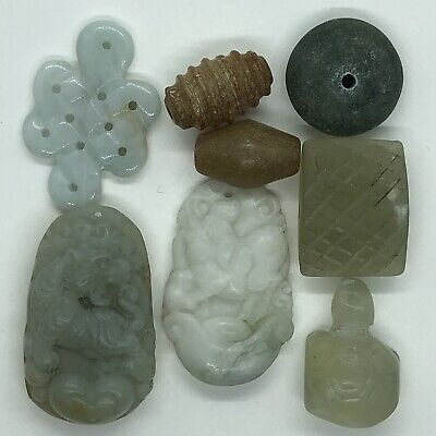 8 Antique Chinese Green Jade Carvings Pendants & Beads Asian Gemstone Lot