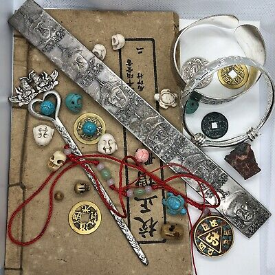 Old Antique Style Vintage Junk Drawer Lot Chinese Asian Collectibles Jewelry L