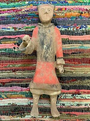 Ancient Chinese Terracotta Hand Painted Guard Figure - Early Western Han Dynasty