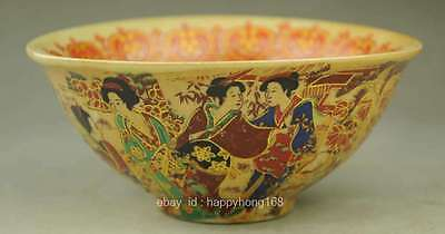 DELICATE CHINESE PASTEL YELLOW GLAZE PORCELAIN HAND MAID DRAGON BOWL b01