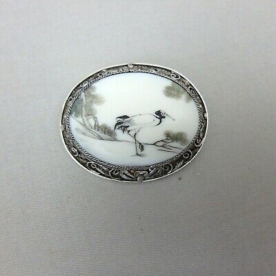 Antique Vtg Chinese Asian Brooch Pin Hand Painted Crane  Set in Filigree Silver