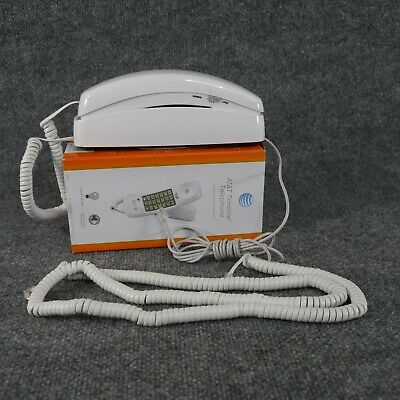 AT&T Trimline 210 White Curly Corded Landline Desk Telephone Phone + Long Cord