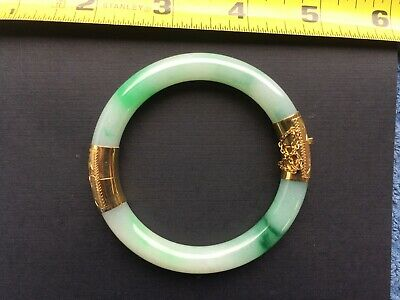 ANTIQUE Chinese  GREEN and WHITE JADE Bracelet with 14K  GOLD CLASP