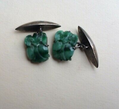 ANTIQUE Chinese CARVED  GREEN JADE  CUFF LINKS -