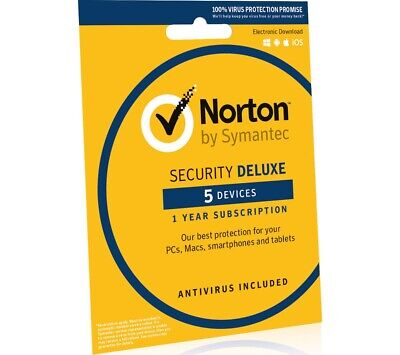 Norton Security Deluxe Genuine License 5 pc 1year Canada-USA