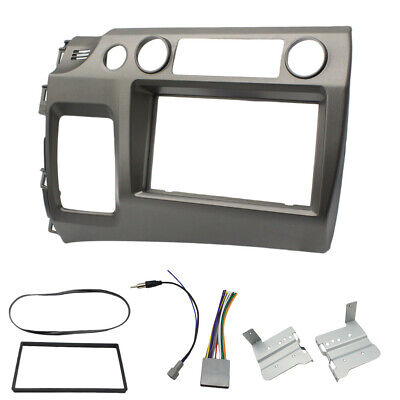 Grey Double Din Car Radio Dash Kit with Wiring Harness For 2006-2011 Honda Civic