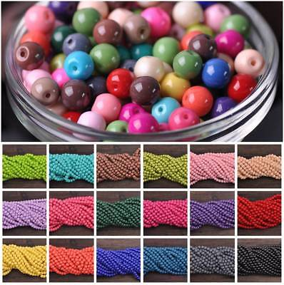 Solid Color Coated Round Glass Loose Spacer Beads for Jewelry Making 4mm 6mm 8mm