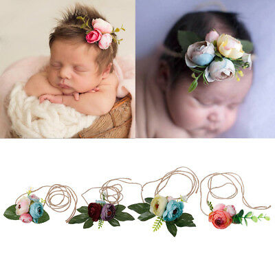 Girls Flower Headband Newborn Rose Headwear Kids Tieback Baby Photography Props