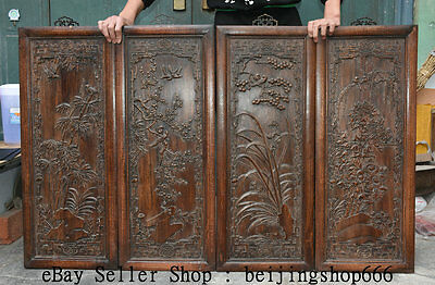 """33.6"""" Old Chinese Huanghuali Wood Hand Carved 梅 兰 竹 菊 Flower Bird 4 Screen Set"""